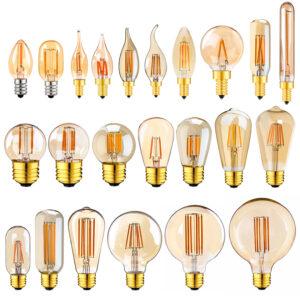E14 E27 Led regulable 220V lámpara oro Tubular lámpara noche lámpara 0,5 W 1W 2W 3W 4W 6W 8W 2200K Vintage luz con filamento LED bombillas