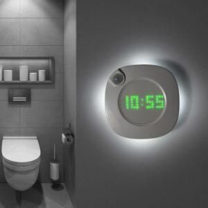 Reloj adhesivo pared con imán iluminación retro, con sensor de movimientos y batería