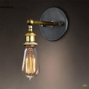 Aplique Retro americano lámparas Vintage para pared, luces para Loft, Bombilla E27, hierro chapado (B)