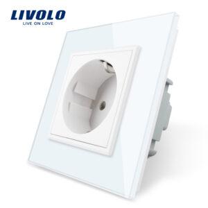 Toma de corriente estándar de la UE Livolo, Panel de cristal blanco, toma de corriente de pared CA 110 ~ 250V 16A, VL-C7C1EU-11, sin logotipo