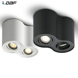 Foco doble LED para techos, instalado en superficie, potencias 10W y 14W, NO REGULABLE