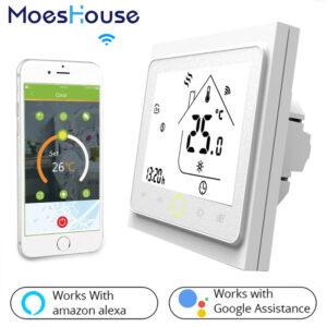 Termostato inteligente WiFi para calefacción eléctrica o de agua, control voz Alexa Google Home