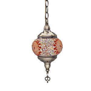 Lámpara echa a mano con mosaicos de cristal colores estilo árabe marroquí, portalámparas E27.