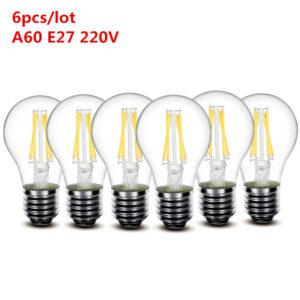 Lote 6 bombillas LED de filamento estilo Edison – Vintage. Casquillos E27 y E14, potencia 2W,4W,5W,6W,8W