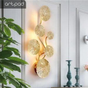 Espectacular aplique de pared diseño en latón dorado, forma de flor de loto estilo Vintage porta G4