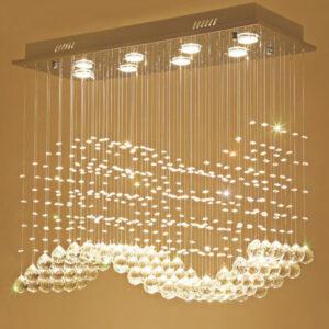 Manggic, luces colgantes de cristal de lujo para boda, lámpara moderna para restaurante, Simple, Cuadrado largo, luz LED de cristal