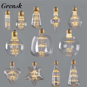 Bombillas LED de filamento formas originales. Bombilla LED decorativa cristal formas variadas.