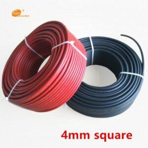 Rollo cable de 5 metros rojo o negro para instalaciones energia solar, sección 4mm, conectores MC4