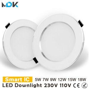 LED Downlight 3W 5W 7W 9W 12W 15W 18W empotrable redondo de la lámpara 220V 230V 240V 110V bombilla Led dormitorio cocina interior foco led