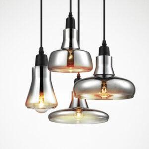 Lámpara colgante de cristal vintage de color gris claro, color claro, lámparas colgantes de color ámbar con bombillas 110V/220V luces colgantes led