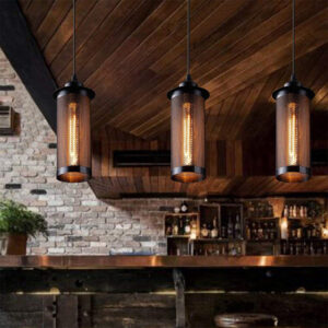 Lámpara retro industrial de malla metálica, para bombillas LED E27