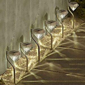 6 uds. Luz Solar LED de diamante que cambia de Color luz Solar de jardín borde o camino de luz de fondo luz Solar al aire libre césped/paisaje