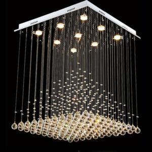 Moderno candelabro LED de cristal cuadrado K9 con forma de pirámide lámparas escalera sala de estar dormitorio candelabro Manggic