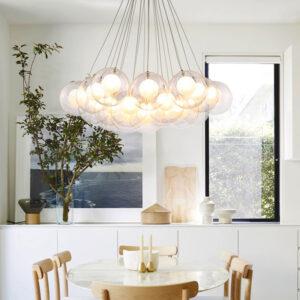 Lámpara araña 15 globos dobles de cristal con LED casquillo G4