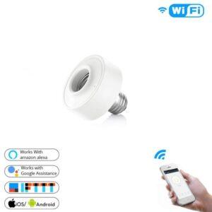 Casquillo portalámparas inteligente Wifi. Para bombillas E27, control por voz  Google Home Alexa