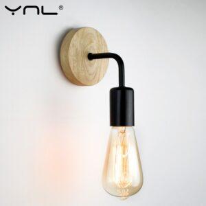 Aplique con base de madera estilo Industrial  (Black)