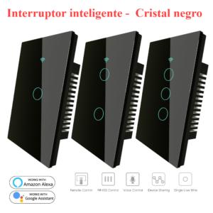 Interruptor táctil cristal negro, Interruptor inteligente Wifi, control por voz Alexa y Google Home
