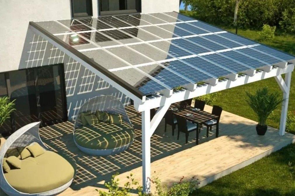 Pérgola solar en madera con paneles transparentes 3Kw-5Kw-8Kw